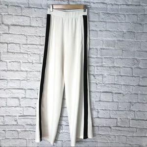 Zara White with Black Stripe Wide Leg Pants 🌿